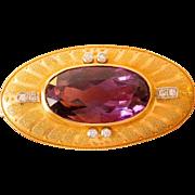 16.7 Grams 14K Gold Amethyst & Diamond Etruscan Brooch