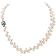 "White, Fresh Water Pearl 17-1/2"" Necklace with Sterling Silver & Moonstone Clasp"