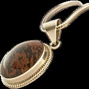 Large Sterling Silver Cabochon Gemstone Pendant