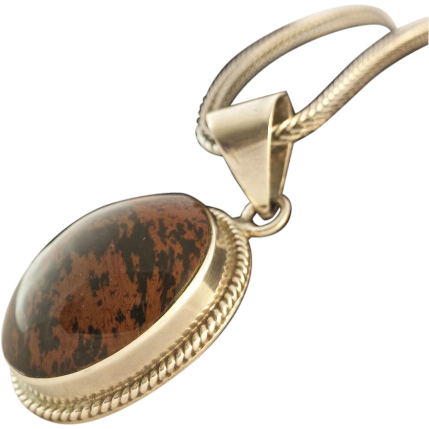 large sterling silver cabochon gemstone pendant from