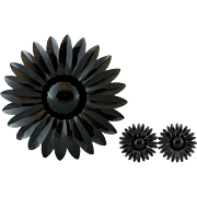Large Enamel Black Flower Pin with Matching Clip-On Earrings