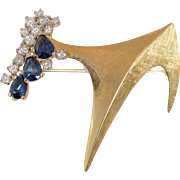 18K Yellow Gold Sapphires & Diamond Modernist Brooch & Pendant