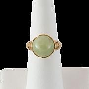 Amazing 14K Yellow Gold Jade Ring Size 6-3/4