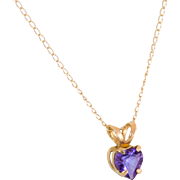 Petite 10K Gold Amethyst Pendant with Fine Chain - Red Tag Sale Item