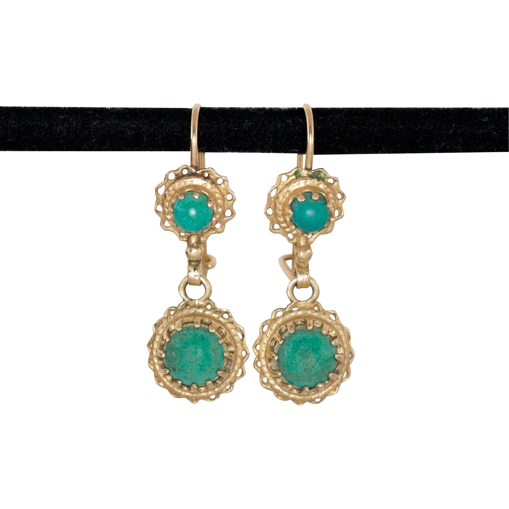 14k gold turquoise drop earrings ann tiques and fine. Black Bedroom Furniture Sets. Home Design Ideas