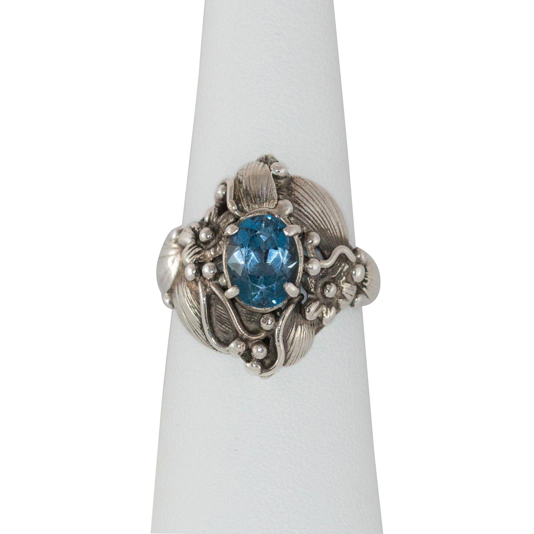 sterling silver blue topaz ring size 8 from