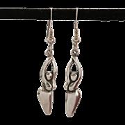 Signed Sterling Silver Stylized Fertility Goddess Earrings