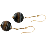 14K Gold Banded Agate Bead Earrings