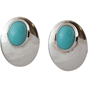 Sterling Silver Turquoise Post Back Earrings