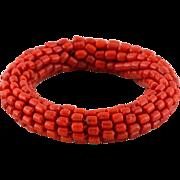 Pretty Faux Coral Bangle Bracelet
