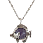 Sterling Silver Purple Bead Blowfish Pendant with Chain