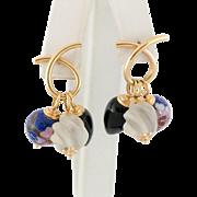 14K Gold Twist Hoop Earrings with Interchangeable Beads