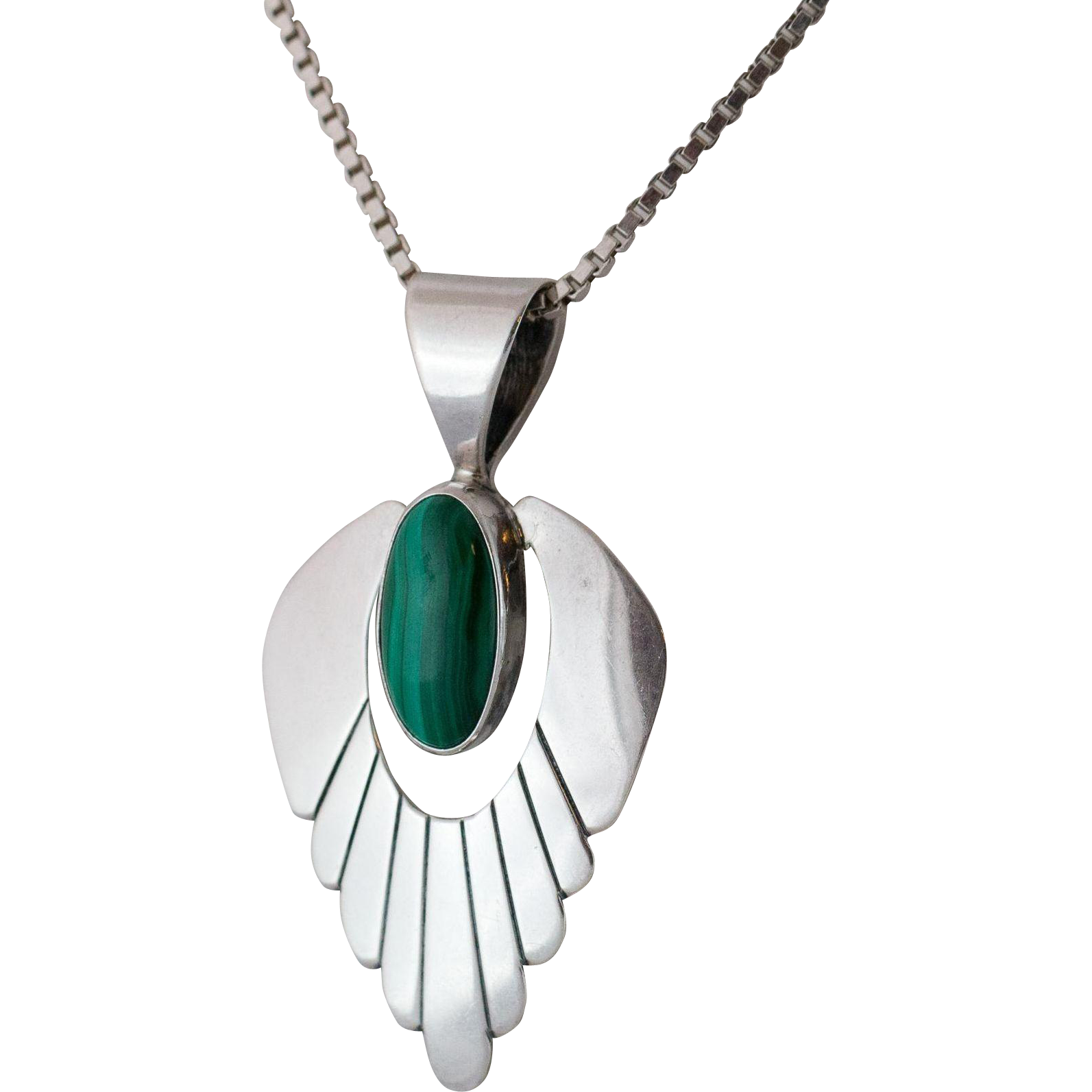 sterling silver malachite pendant with chain from