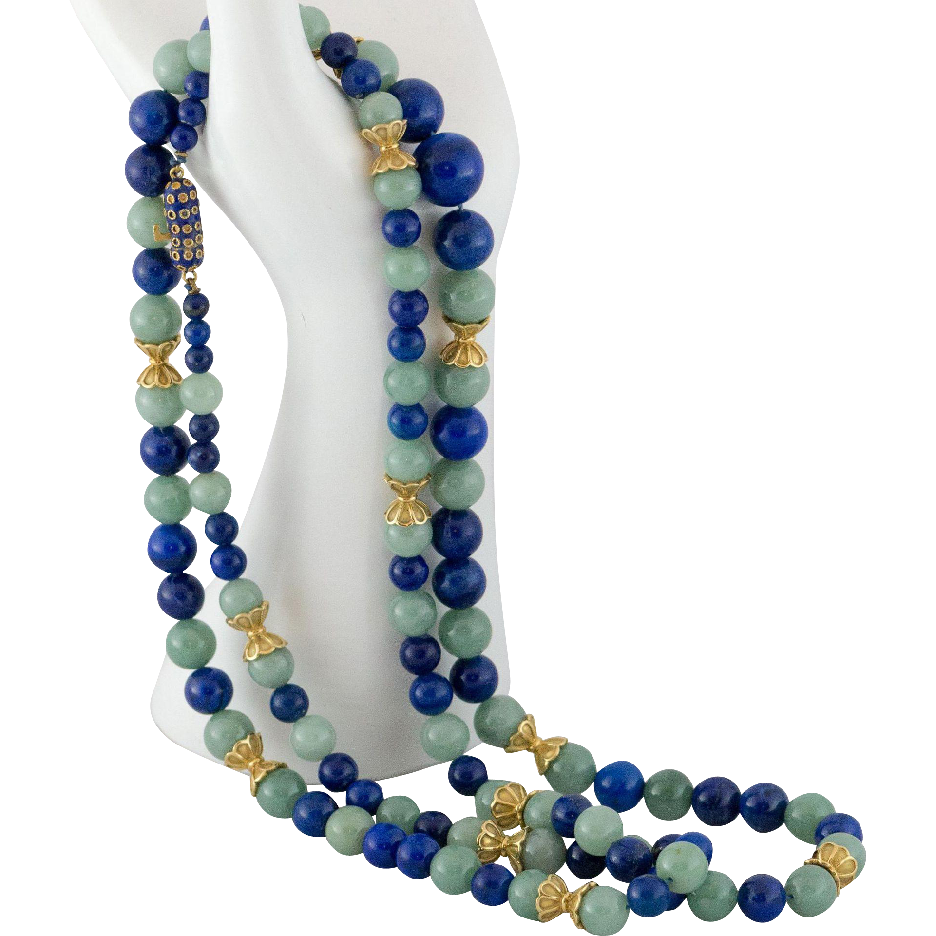 36 quot 14k gold jadeite jade lapis bead necklace with