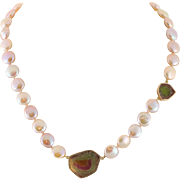 14K Gold Natural Watermelon Tourmaline & Coin Pearl Necklace