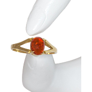18K Yellow Gold Mexican Fire Opal Gemstone Ring Size 6-1/4