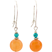 Turquoise & Carnelian Dangling Earrings