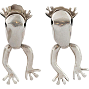 "Sterling Silver | Articulated | ""Frog"" Earrings 