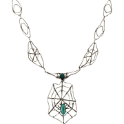 Fabulous! | Sterling Silver | Spider & Fly | Spider Web | Handmade Drop Necklace |