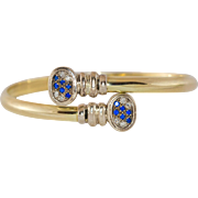 14K Yellow Gold Diamond & Sapphire Bangle Style Bracelet