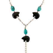 Black Onyx & Turquoise Lavalier Necklace
