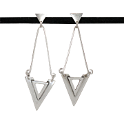 Sterling Silver   Modernist   Elongated Earrings
