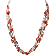 Sterling Silver | 10-Strand Natural Red Coral Necklace |