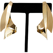 14K YG | Modernist Free-Form Earrings | Fabulous!