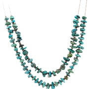 Vintage | Sterling Silver | 24-Inch | Natural Turquoise Gemstone Necklace
