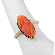 10K Gold   Victorian   Coral Cameo Ring   Size 6