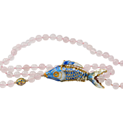 31-Inch | Rose Quartz Bead Necklace | Fully Articulated & Enameled Fish