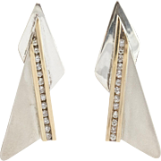 14K YG | Sterling Silver | Diamond Earrings | Modernist