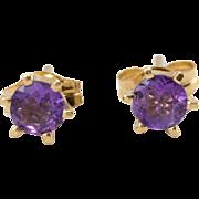 14K YG | Amethyst Stud Earrings