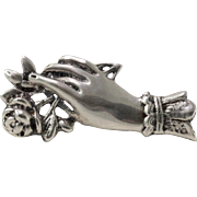 Sterling Silver | Hand Brooch with Flowers