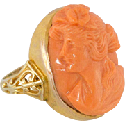 Victorian | 14K Yellow Gold | Natural Coral | Cameo Ring