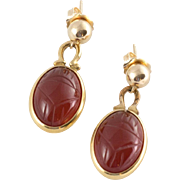 14K Yellow Gold | Etched Carnelian | Dangle Earrings