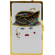 Abstract Glamour-Face | Business Card Holder | Gold Tone
