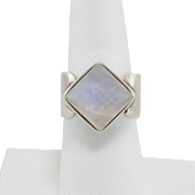 Modernist | Moonstone Ring | Sterling Silver | Size 7-1/4