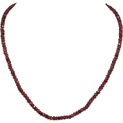 Sterling Silver | Faceted Garnet Bead Necklace | 16-Inches | 2 Inch Extender