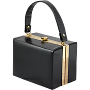 Bobbie Jerome | Black Leather | Vintage Box Purse