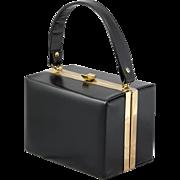 Bobbie Jerome | Black Leather | Vintage Box Purse