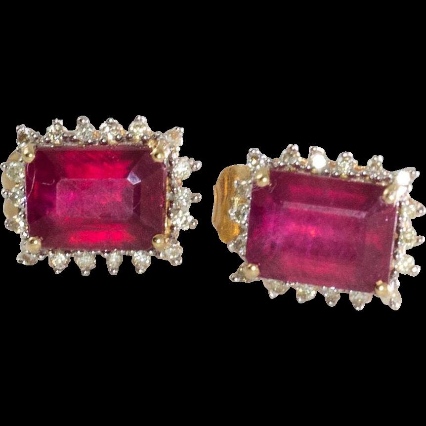 14k yellow gold ruby amp diamond earrings from