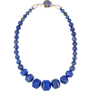 Lapis Lazuli Bead Necklace | Sterling Silver | 17-1/2 Inches