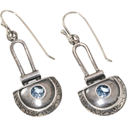 Etched | Sterling Silver | Dangling Blue Topaz Earrings
