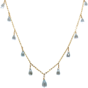 14K Yellow Gold | Blue Topaz | Briolette Facet | Necklace