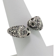 Sterling Silver | Double Head Lions | Torc Ring