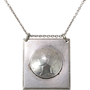 Sterling Silver | 1944 | Mercury Head Dime Pendant | Chain 18.5 Inches