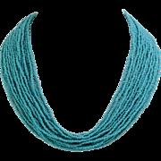 Vintage | Handmade Blue Glass | Seed Bead Torsade