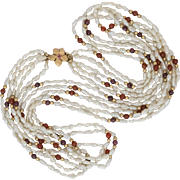 14K Yellow Gold | Ruby & Pearl Necklace | 24-Inches