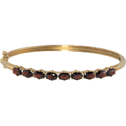 14K Yellow Gold   Garnet Gemstone   Bangle Bracelet